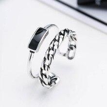 100% Plata de Ley 925 anillos de boda femeninos de resina negra de moda joyería de promoción mujeres chicas anillo abierto nunca se desvanece barato