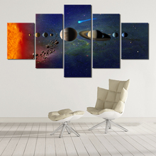 5 panel space moon poster silk cloth earth canvas painting wall art planet satellite solar system living room decoration