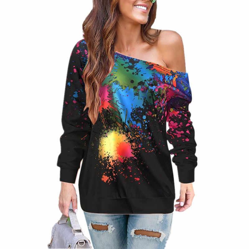 Otoño Invierno 2019 nuevo oblicuo hombro pintura impresión manga larga Camiseta talla S-2XL señora Casual Tops camisetas T-shir