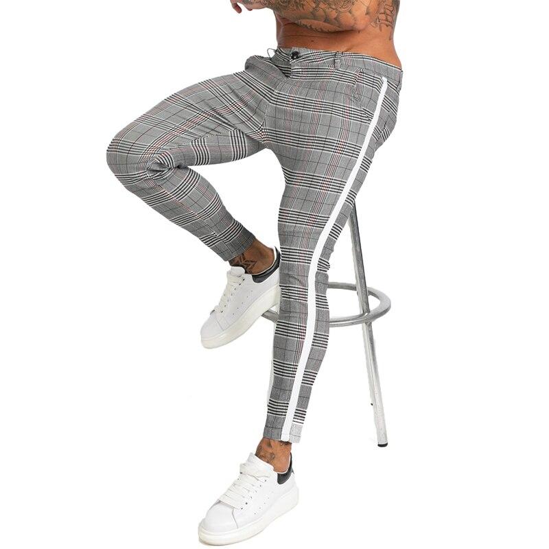 Gingtto Mens Chinos Slim Fit 2019 Men Skinny Chino Pants Super Comfy Stretch Pants For Men Plaid Design Side Stripe Zm355