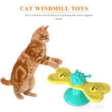 Interactive-Toys Windmill Cat Spinning Butterfly Puzzle Suction-Cup Pet-Supplies Teasing