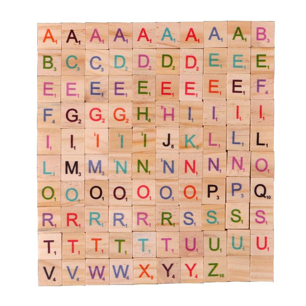 100 шт. деревянные скрабл плитки буквы алфавита цветные цифры цифровой пазл деревянные игрушки для детей сувениры