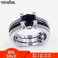 Vecalon 10 couleurs couple anniversaire bague 5A zircon Cz or blanc rempli bague de mariage ensemble pour femmes hommes pierre de naissance bijoux
