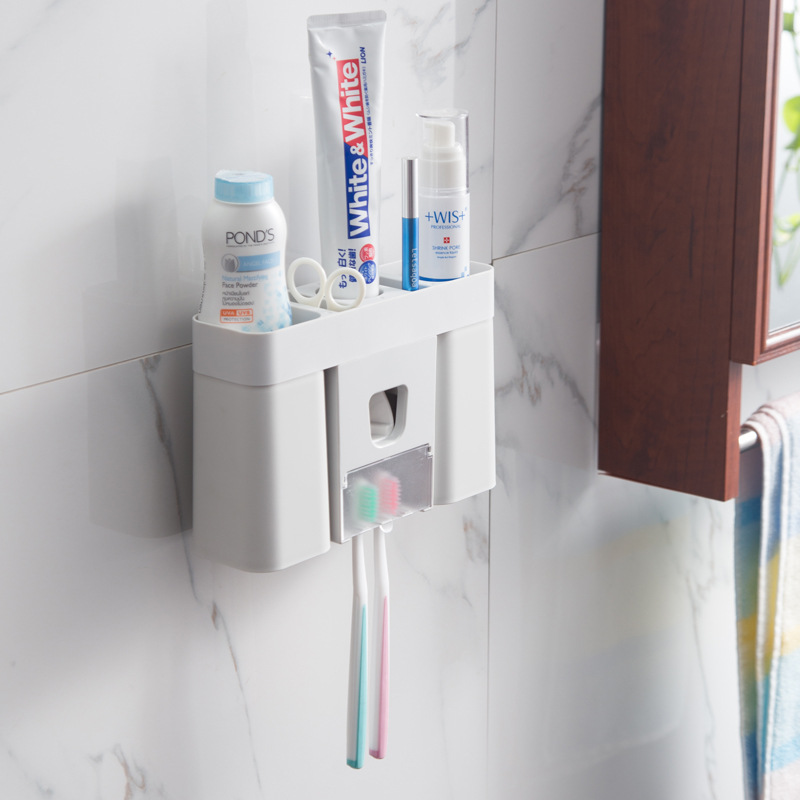 Automatic Toothpaste Dispenser Toothbrush Holder Wall Mounted  Bathroom Accessories Set Soap Dispenser Toothbrush Holder Travel