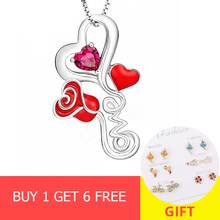 2018 new design 925 sterling silver love heart rose pendant chain necklace with red enamel diy fashion jewelry making women gift