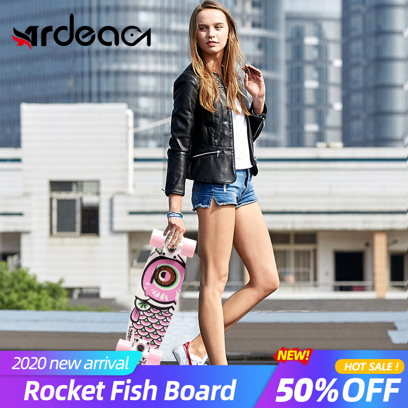 ARDEA Short Mini Fish Board 56cm/22in Russia Maple Fishboard Aluminium Truck Four Wheels Skateboard Street Rocket Skate Board
