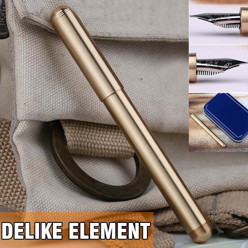 Vintage Moonman Delike Element Full Brass Fountain Pen Metal Ink Pen Writing Nib 0.5mm Ink Bent Nib With Pens Case Supplies Gift