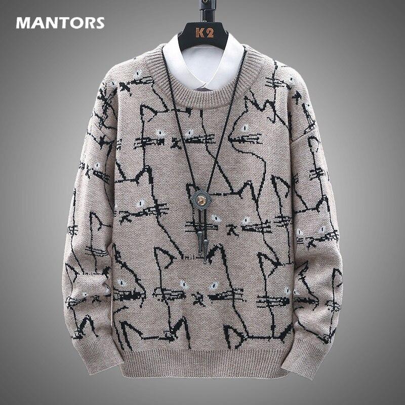 Inverno masculino casual suéteres bonito gato padrão na moda fino suéteres homens o-pescoço manga longa lã quente pullovers 2020