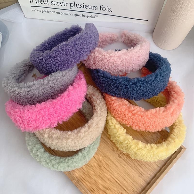 2021 для женщин зима Новый ободок Карамельный цвет ягненка повязки на голову для девочек модели милый простой и повязка на голову