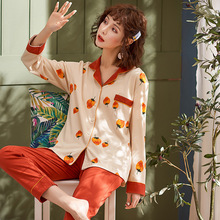 Jimiko new autumn pajamas 100% cotton woman long-sleeved lapel fashion home clothing set pink strawberry print Cute girl