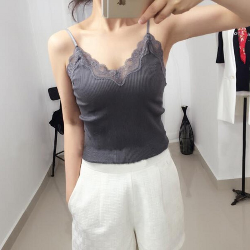 70% Silk 30% Cotton Knit Lace Camisole Top Vest Sleepwear Spaghetti Strap SG309