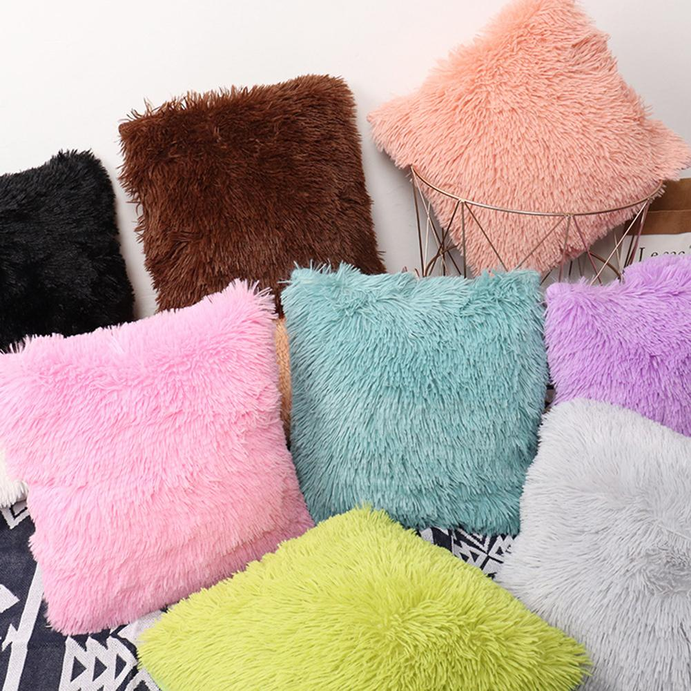 Faux Fur Fluffy Plush Throw Pillow Cases Shaggy Soft Chair Sofa Cushion Cover