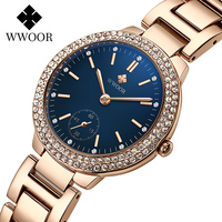 WWOOR Damen Uhr Top Marke Luxus Diamant Uhr Für Frauen montre femme Blau Elegante Quarz Armbanduhr Weibliche Relogio Feminino
