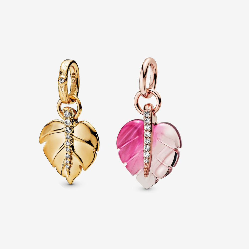 2020 Real 925 Sterling Silver Rose gold Pink Murano Glass Leaf Pendant Charm Fit pandora bracelet necklace pendant DIY jewelry(China)