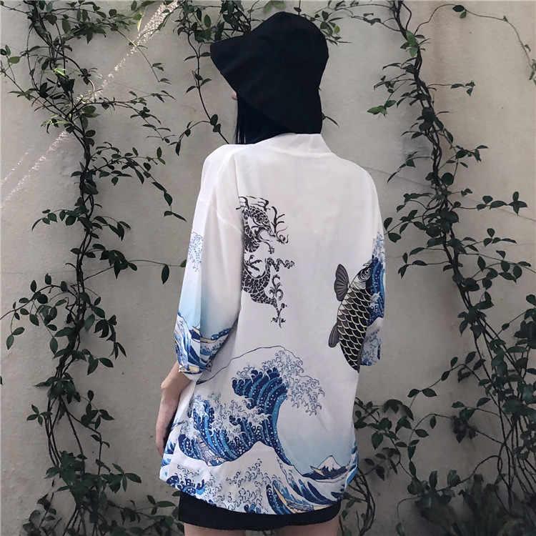 Kimono Strickjacke Japanischen Druck Yukata Mantel Feind Frauen Männlichen Obi Samurai Hemd Bluse Männer Nationalen Japanischen Traditionellen Kleidung