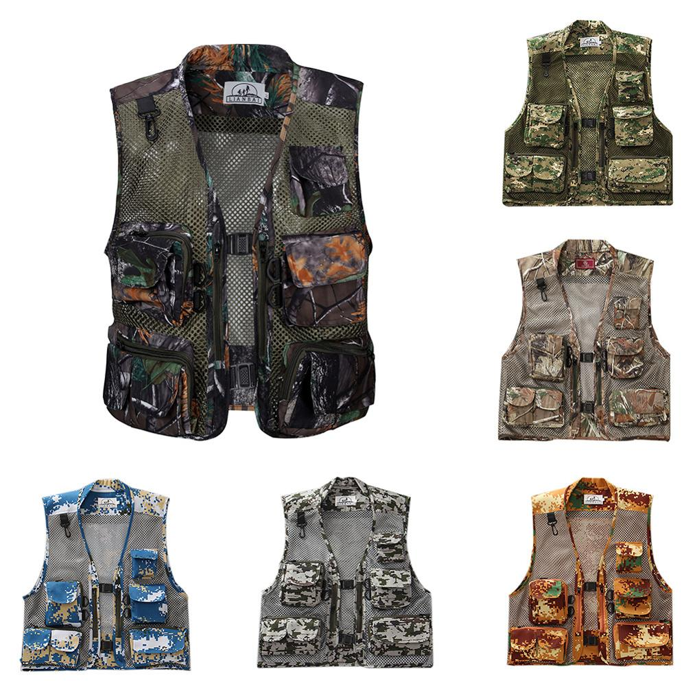 Men's Fishing Vest Mesh Breathable With Multi-Pocket Zip Camouflage Waistcoat Jacket For Outdoor Photography Hunting  Travel
