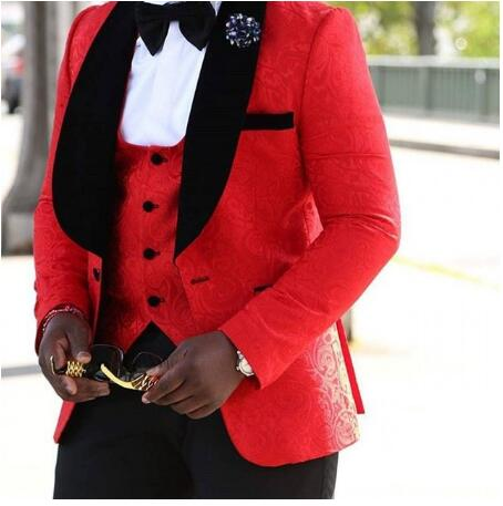 Vestito degli uomini di Nuovo Stile Groomsmen Scialle Risvolto Sposo Smoking Rosso/Bianco/Nero Uomini Vestiti di Cerimonia Nuziale Best Uomo Giacca Sportiva (Jacket + Pants + Tie + Vest) - 2