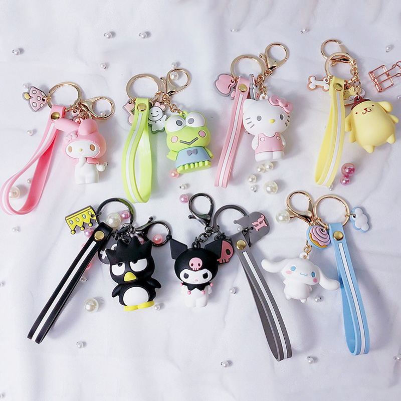 Sanrio Series My Melody Pudding Doll KT Cat Keychains Women Girls Charm Bags Key Chain Accessories Pendant Car New Key Ring 2020