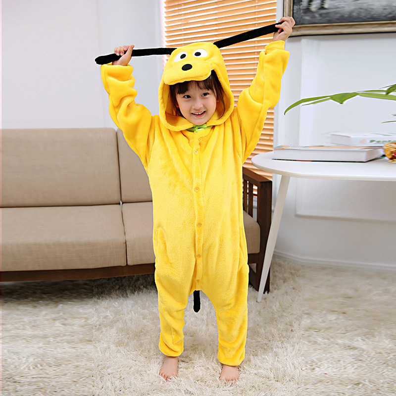 Autumn & Winter Flannel Children Small Yellow Dog Cartoon One-piece Pajama Men And Women Long Sleeve Thick Warm Home Wear