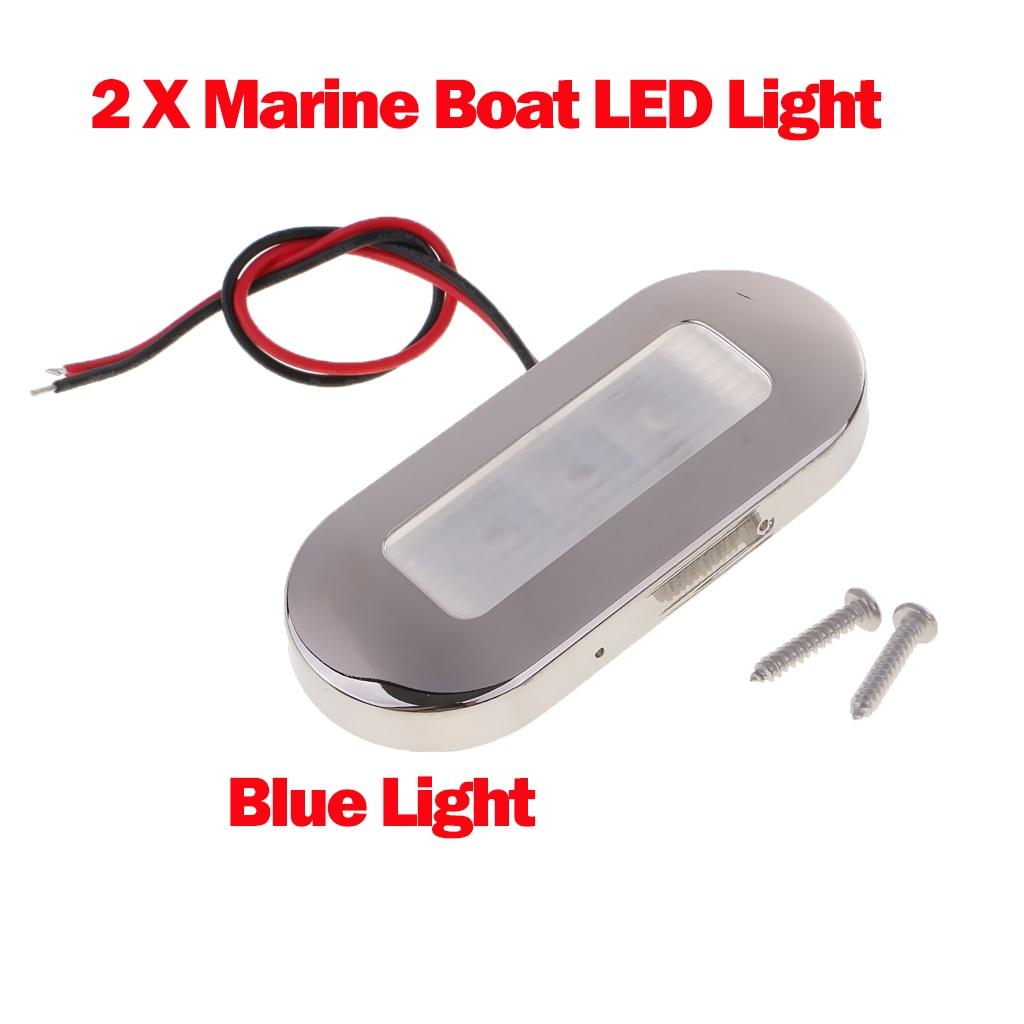 12V Marine Boat LED Oblong Oval Surface Mount Courtesy Light Blue
