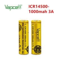 Darmowa wysyłka Vapcell oficjalny oryginalny ICR 14500 1000mah 3A 3.7V bateria litowo-jonowa PK 14500p dla flashligh ogniwo litowe elektronarzędzia