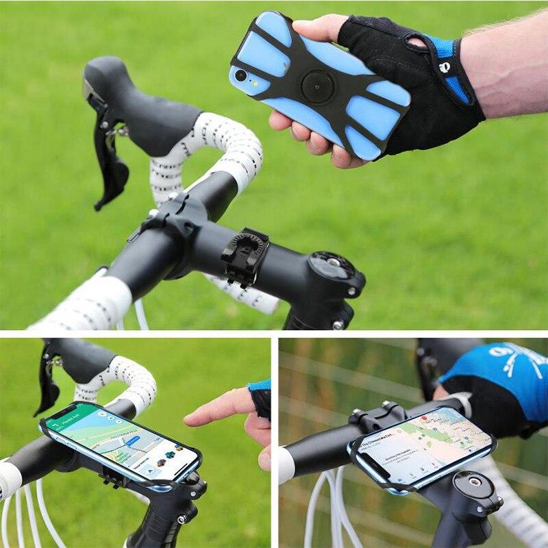 Soporte universal de celular para manillar, sujeción de silicona para iPhone en bicicleta o motocicleta, montaje de soporte