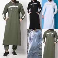 Neue Herren Jubba Thobe Arabisch Islamische Kleidung Winter Muslimischen Saudi-arabien Arabisch Abaya Dubai Lange Roben Traditionellen Kaftan Pullover