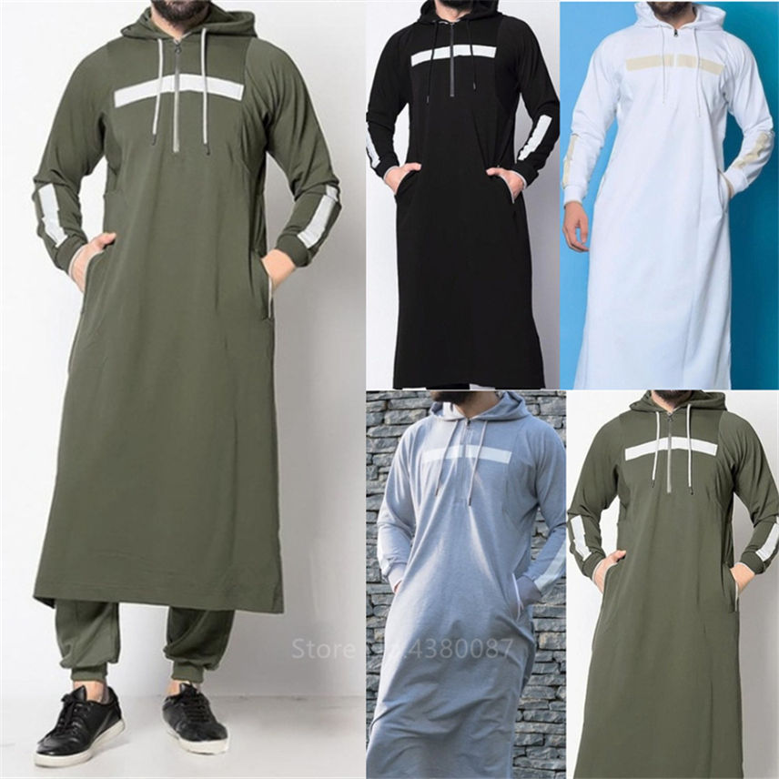 New Mens Jubba Thobe Arabic Islamic Clothing Winter Muslim Saudi Arabia Arabic Abaya Dubai Long Robes Traditional Kaftan Sweater