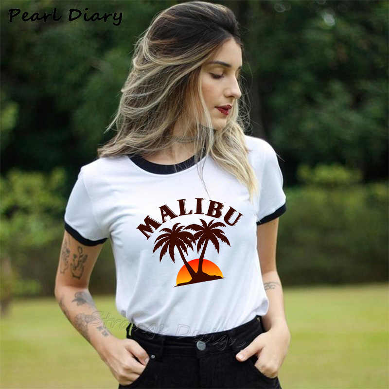 Summer Palm Beach MALIBU LOGO Short-sleeved T-shirt Female Top New Harajuku Fashion Brand Tshirt For Women