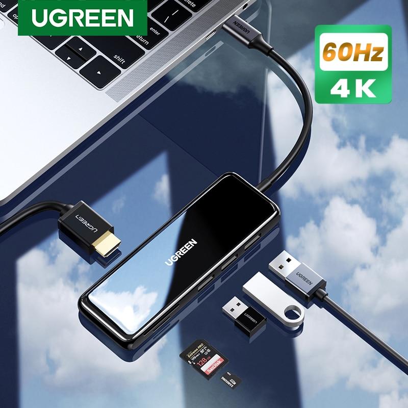 Ugreen USB Type C 허브-HDMI 4K @ 60Hz/30Hz USB C-멀티 USB 3.0 어댑터-MacBook iPad Pro 2020 USB-C 3.1 스플리터 포트
