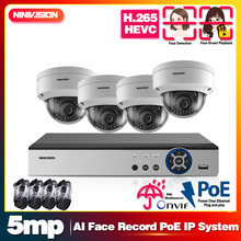 H.265 4 Kanaals 5MP Poe Camera Systeem Cctv Kit Dome Security Camera IR-CUT Waterdichte Camera Video Surveillance Gezicht Detectie(China)