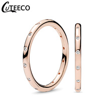 CUTEECO Simple Rose Gold Color Finger Rings For Women Elegant Zircon Wedding Ring Gift Engagement Fashion Jewelry Dropshipping