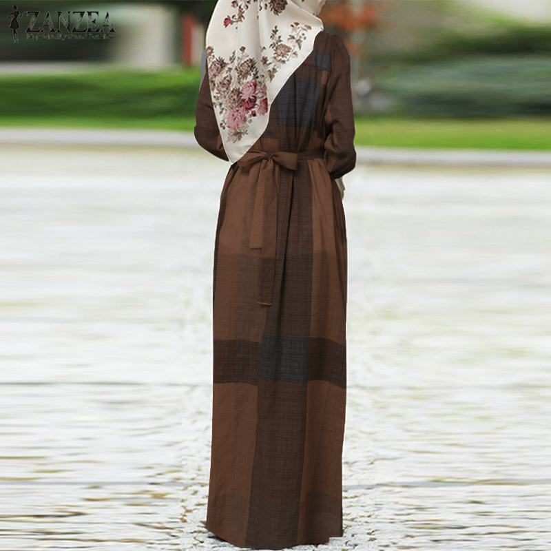 Women Dubai Muslim Islamic Kaftan Long Dress ZANZEA Autumn Vinatge Plaid Checked Pirnted Puff Sleeve Abaya Kaftan Maxi Dress Women Women's Clothings Women's Dresses cb5feb1b7314637725a2e7: Navy|Wine red|YELLOW