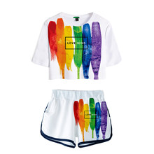 New Print Women Free LGBT lovely sets 2 Piece Set Summer Sexy Short Sleeve t shirt+Shorts Rainbow Design sets Streetwear Clothes