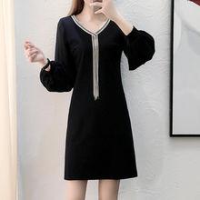 Платье миди с длинным рукавом и v образным вырезом осень 2019