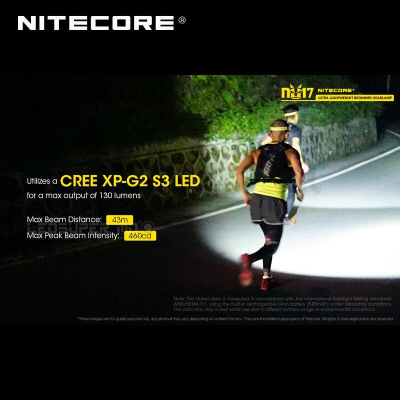 Micro-USB Aufladbare Nitecore NU17 Triple Ausgang Ultra Leichte Anfänger Scheinwerfer Eingebaute Li-Ion Batterie