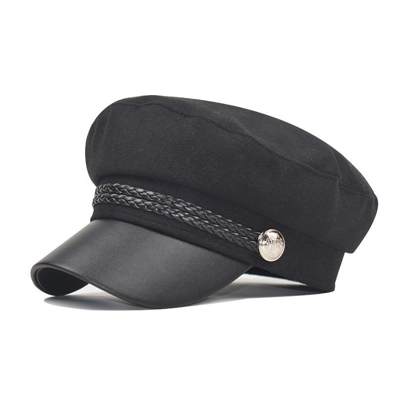 Зимняя женская Повседневная Военная шляпа винтажная мягкая хлопковая шерстяная плоский берет восьмиугольная кепка Модная элегантная женская шапка высокого качества - Цвет: dark black