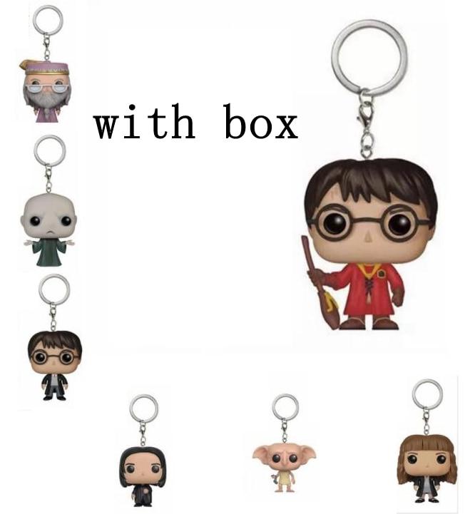 Com caixa de varejo nova chegada dobby hermione dumbledore potter voldemort chaveiro figura ação coleção brinquedos para crianças presente