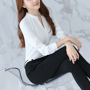 Women Brief Office Work Wear V Neck Shirts Long Sleeve Casual Tops Blouse white shirt women womens blouses and tops High quality 8