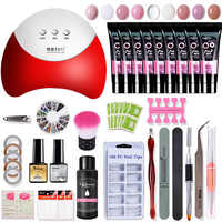 polygel Manicure Set 36w Led Lamp Gel Nail Polish Set Quick Building For Nail Extensions Hard Jelly Gel Acrylic Kit Nail Art Set