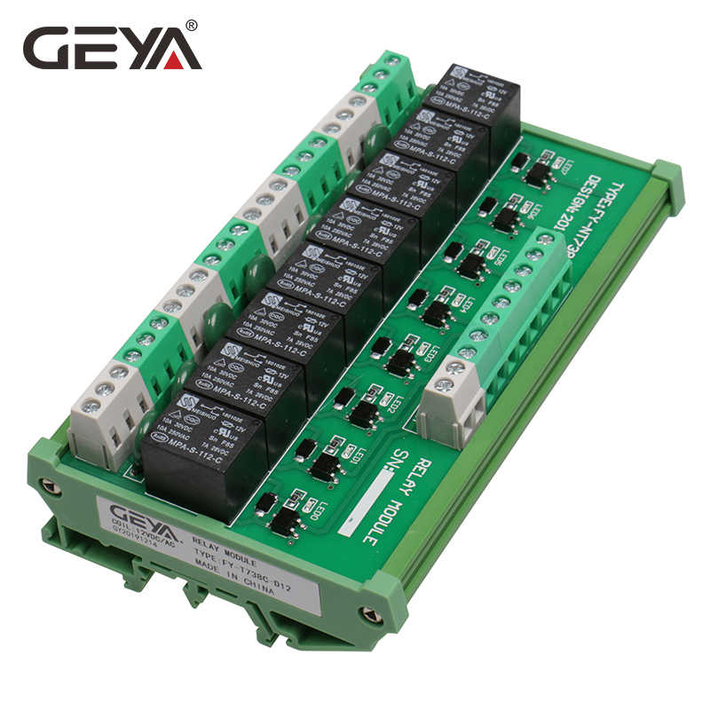 GEYA 8 Kanal Interface Relais Modul 12VACDC 24VACDC DIN Schiene Panel Mount für Automatisierung PLC Bord