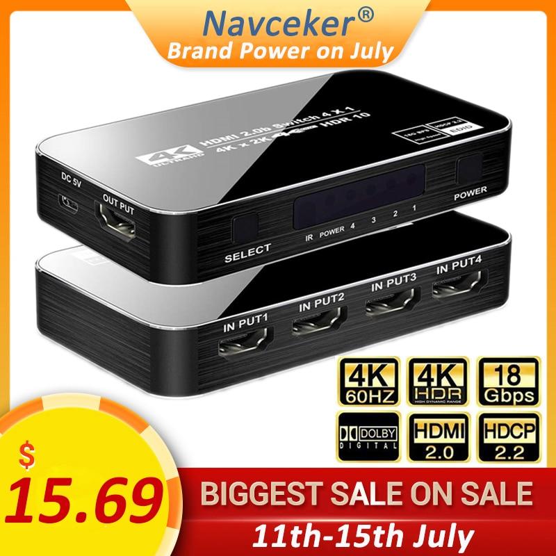 2020 najlepsza 4K przełącznik HDMI 2.0 wsparcie RGB 444 HDR przełącznik HDMI 4K 60Hz HDMI 2.0 przełącznik pilota IR UHD 4 Port przełącznik HDMI przełącznik