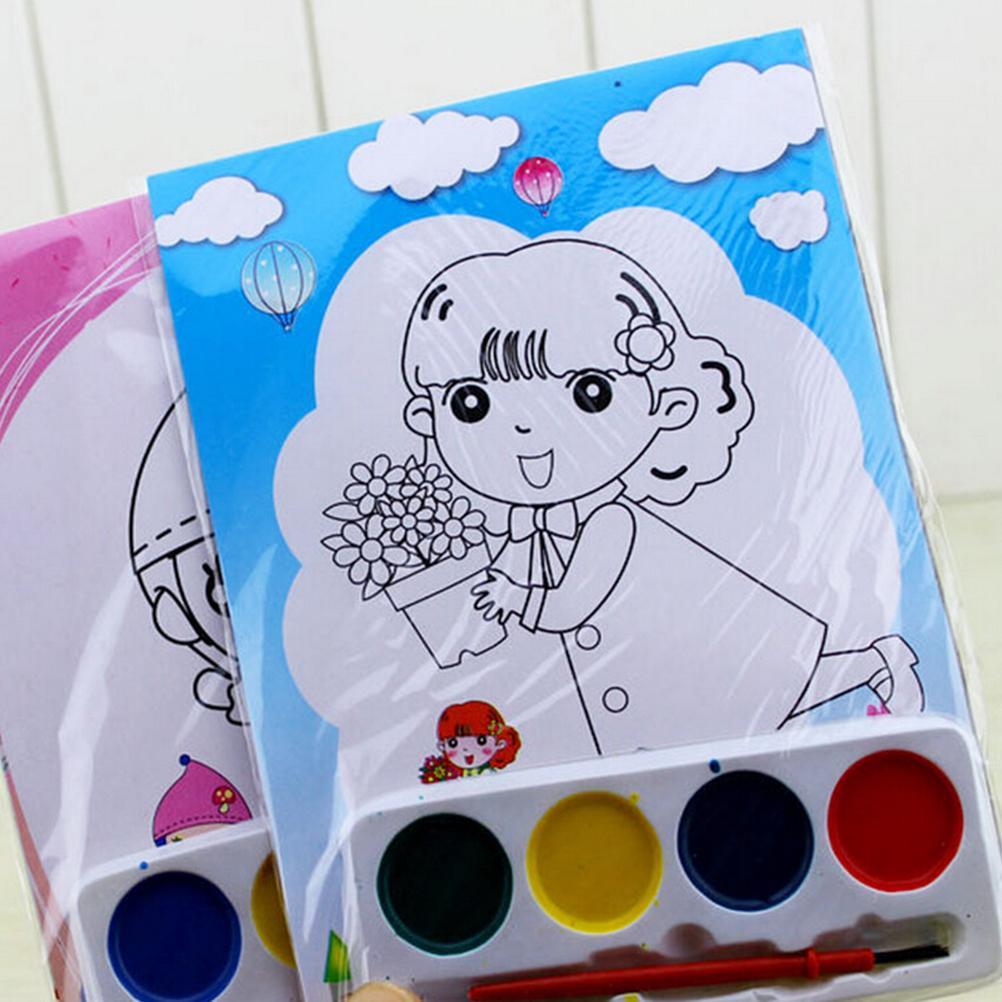 1 Set 4 Colors DIY Portable Solid Paint Watercolor Painting Set Kids Educational Drawing Toys Stimulate Children's Imagination