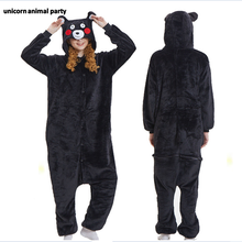 Kigurumi Anime Halloween Cartoon Animal Black bear Kumamon Cosplay clothes woman man jumpsuit pajama Sleepsuit Sleepwear