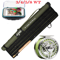 Fly fishing Rod Set 3/4/5/8WT 4 Section 36T Carbon Fiber/Graphite IM10 Fly Rod Combo & Larger Arbor Reel & Fly Fishing Flies