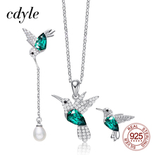 Cdyle 925 스털링 실버 여성 쥬얼리 세트 여성용 Hummingbird 목걸이 귀걸이 세트 Crystal fit Evening Dress Jewelry