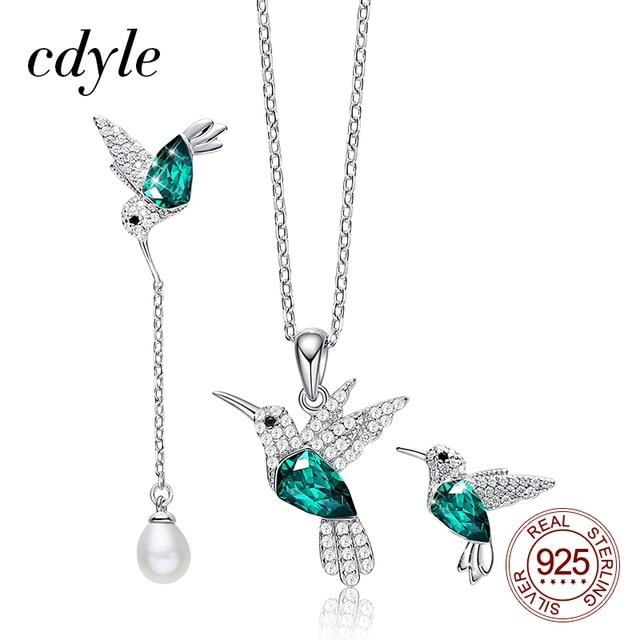 Cdyle 925 סטרלינג כסף נשים תכשיטי סט לנשים Hummingbird שרשרת עגילי סט עם קריסטל fit שמלת ערב תכשיטים