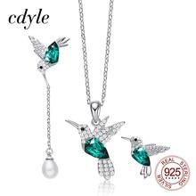 Cdyle Conjunto de joyería para mujer, de Plata de Ley 925, collar de colibrí, conjunto de pendientes con cristal, joyería de vestir de noche