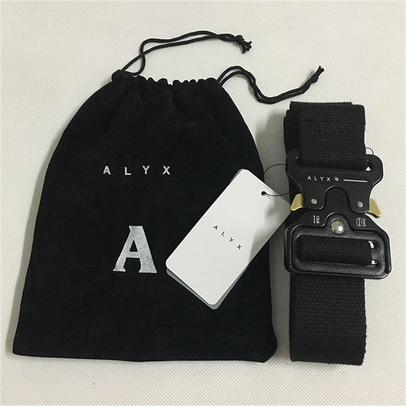 ALYX Belt 128cm Fashion Safety Belt Men Women Rollercoaster Black Metal Button Canvas ALYX Belt