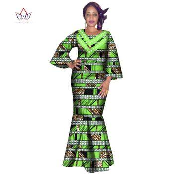 2020 New African Women Bazin Dress Dashiki African Print Dresses For Women Cotton Women O-neck Clothing 6xl 5xl Natural WY3229